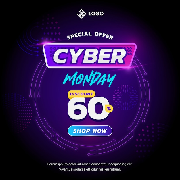 Cyber segunda-feira banner conceito com estilo de design futurista Vetor Premium
