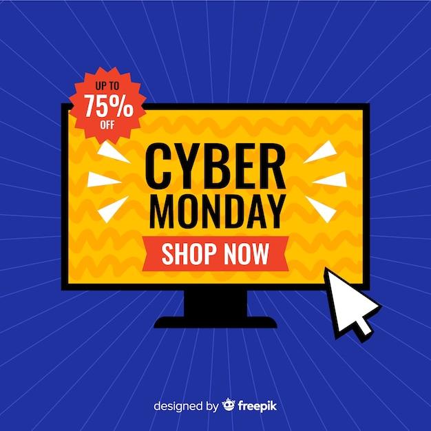 Cyber segunda-feira em design plano Vetor grátis