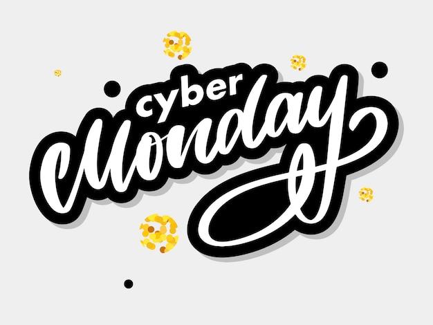 Cyber segunda-feira lettering Vetor Premium