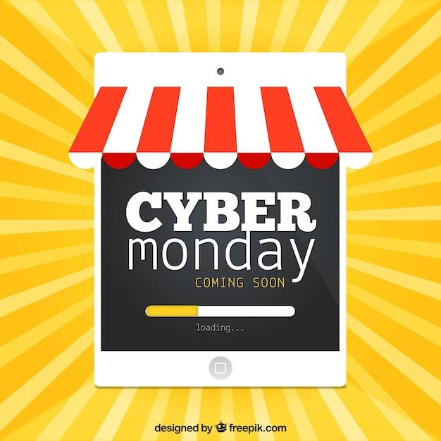 Cyber segunda feira tablet Vetor grátis