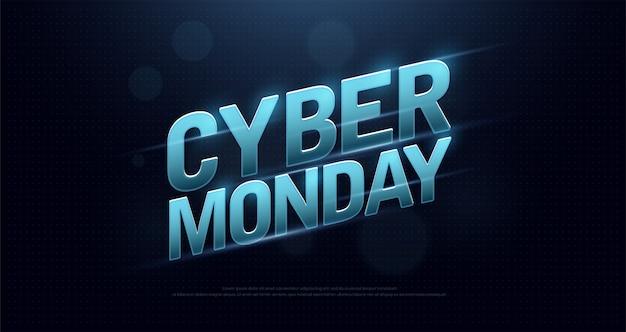 Cyber segunda-feira venda logo design tecnologia conceito Vetor Premium