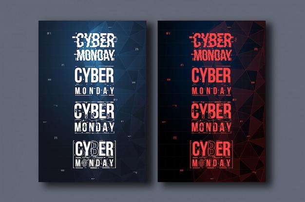 Cyber segunda-feira vertical poster pronto para imprimir Vetor Premium