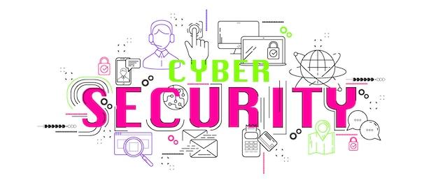Cyber segurança banner web ícone nova aplicação de design. Vetor Premium