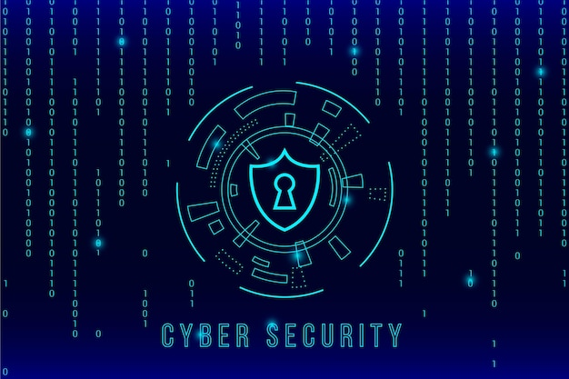 Cyber segurança e efeito matriz Vetor Premium