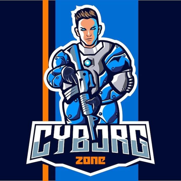 Cyborg com design de logotipo do mascote de arma esport Vetor Premium