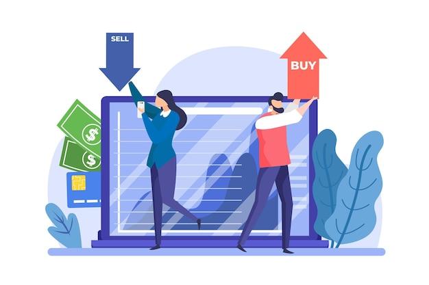 Dados da bolsa de valores de design plano Vetor grátis