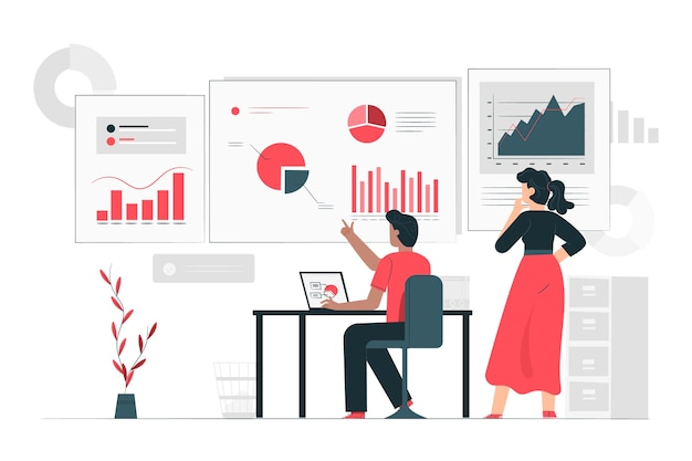 Dados informam o conceito de ilustração Vetor grátis