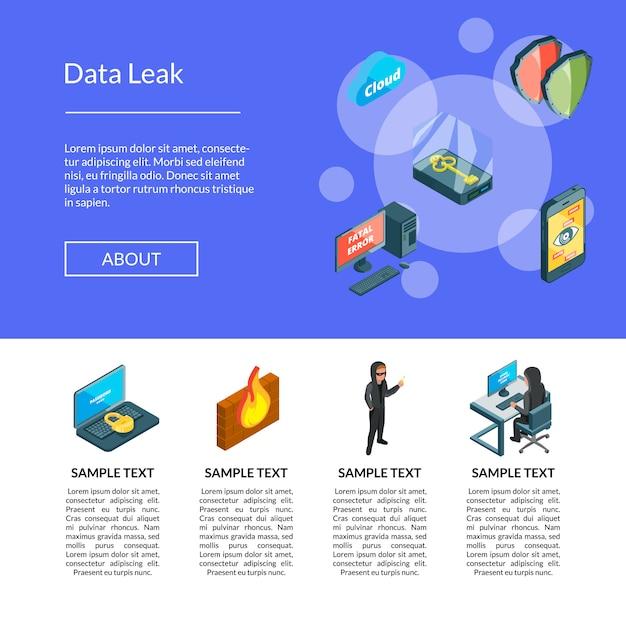 Dados isométricos e ícones de segurança do computador modelo de página de destino Vetor Premium