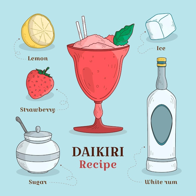 Daikiri de receita desenhada de mão Vetor grátis