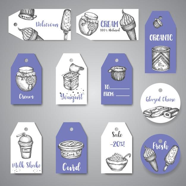 Dairy doce tags coleção mão desenhada vector pendurado Vetor Premium