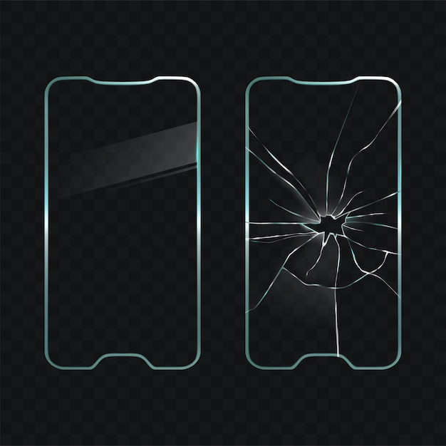 Damaged and new cellphone screen glass vector Vetor grátis