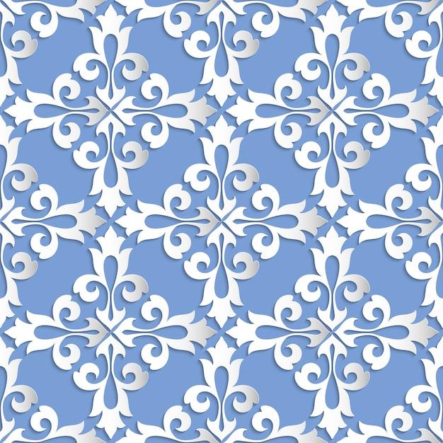 Damasco sem costura de fundo. textura de luxo elegante para papéis de parede, planos de fundo e preenchimento da página. elementos 3d com sombras e destaques. corte de papel. Vetor grátis