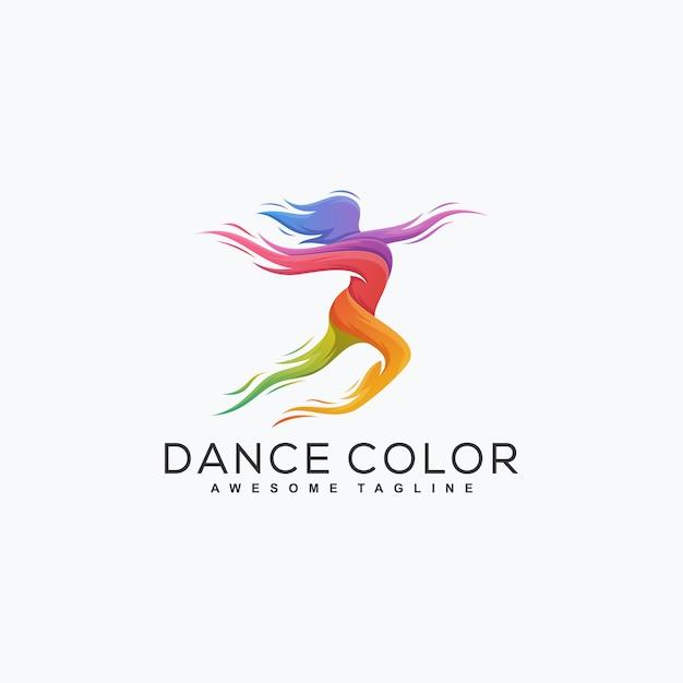 Dança abstrata cor ilustração vetorial modelo de design Vetor Premium