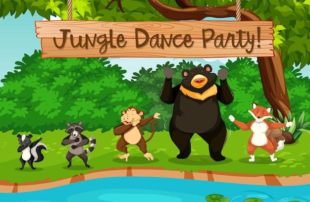 Dança de animais e selva Vetor Premium