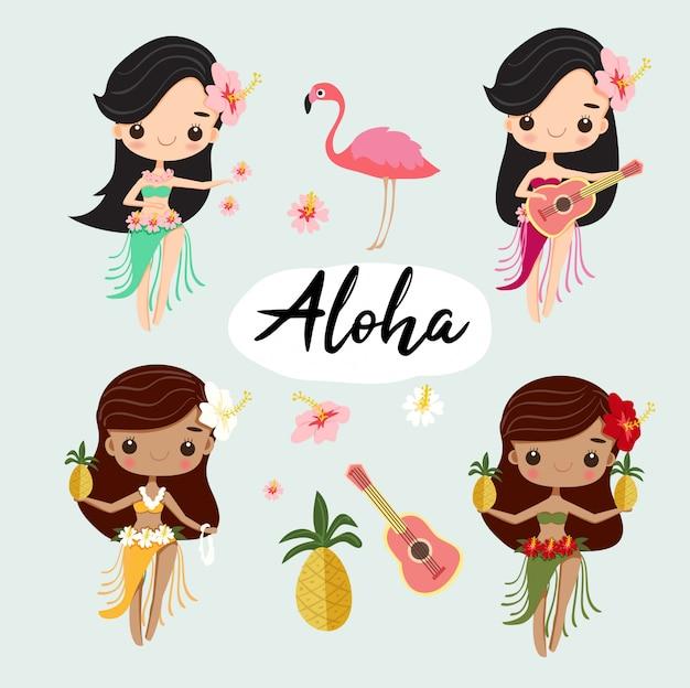 Dança de menina de hula havaiana bonito para o verão Vetor Premium
