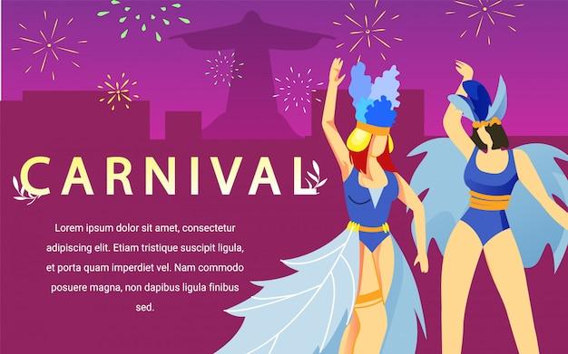 Dança de mulheres em vestidos de carnaval no fundo rosa Vetor Premium