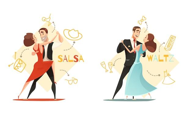Dança de valsa e casais de salsa 2 modelos de desenhos animados retrô com ícone de acessórios tradicionais delineados Vetor grátis