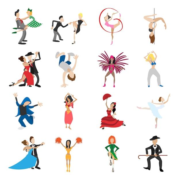 Dança dos desenhos animados ícones conjunto isolado Vetor Premium