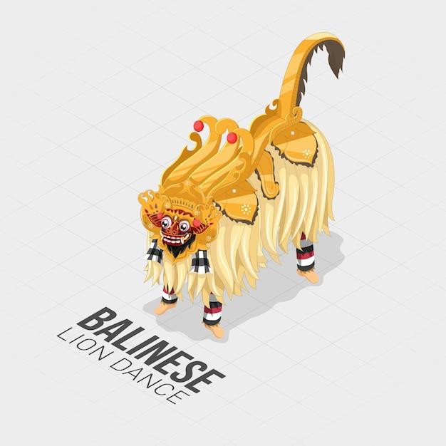 Dança isométrica de leão balinesa Vetor Premium