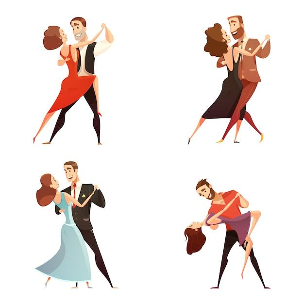 Dança par retrô cartoon conjunto de homens e mulheres dançando juntos Vetor grátis
