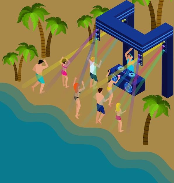 Dançando na praia ilustração Vetor grátis
