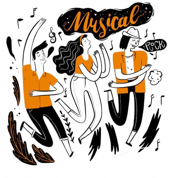 Dançando no festival de música. Vetor Premium