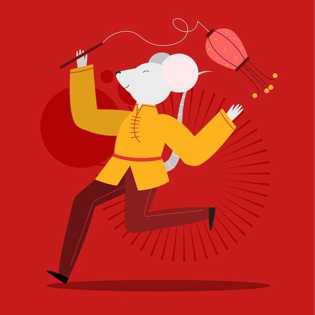 Dançar rato branco sobre fundo vermelho ano novo Vetor grátis