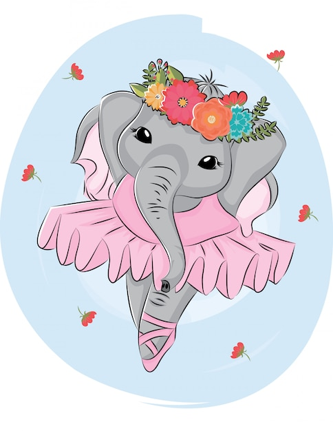 Dançarina de balé de elefante dos desenhos animados com coroa de flores Vetor Premium