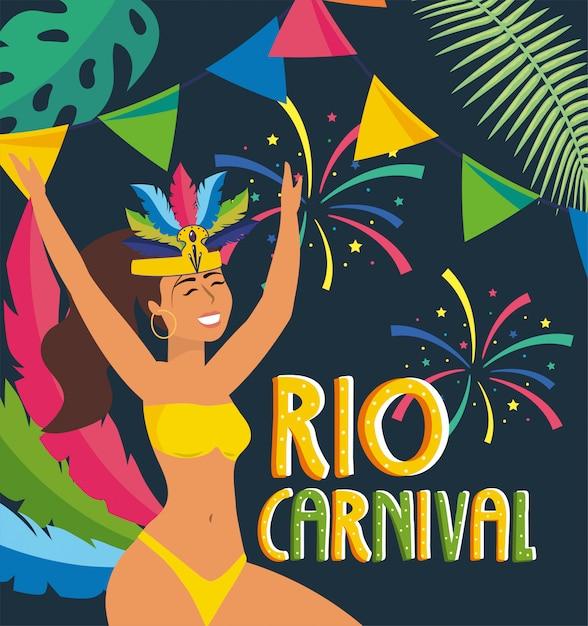 Dançarina de menina com festa ao rio carnaval Vetor Premium