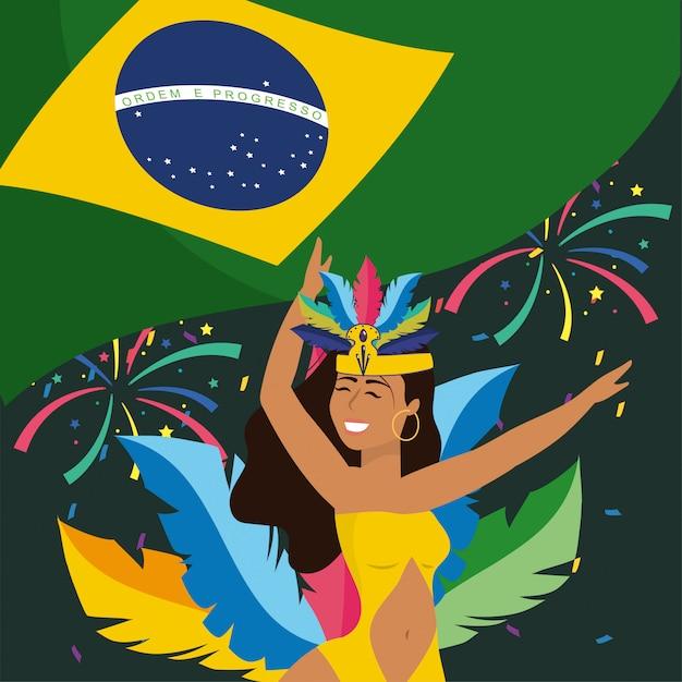 Dançarina de menina com fogos de artifício e bandeira do brasil Vetor Premium