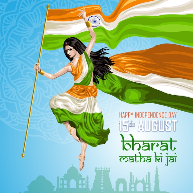 Dançarino da bandeira indiana Vetor Premium