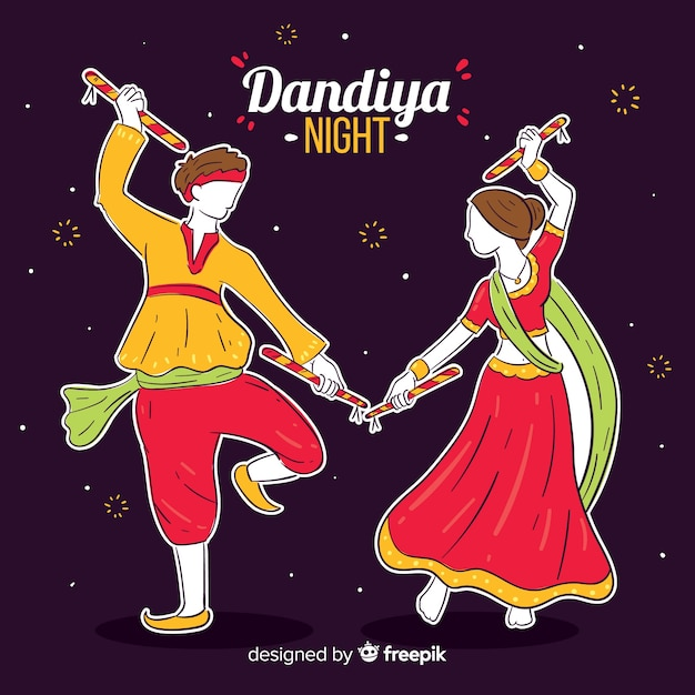 Dançarinos de dandiya Vetor grátis