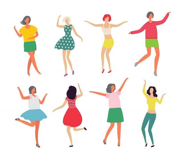 Dançarinos, em movimento, par, par dançando Vetor Premium