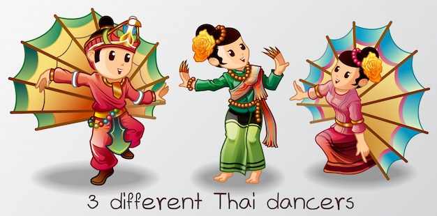 Dançarinos tailandeses Vetor Premium