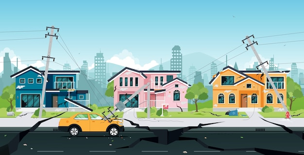 Danos causados pelo terremoto em casas e postes elétricos colidiram com carros. Vetor Premium