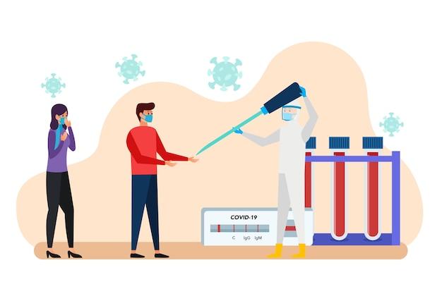 Dar a vacina de um médico a um paciente exposto ao vírus Vetor Premium
