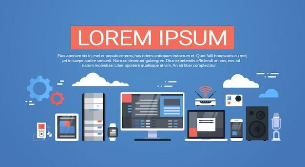 Data center cloud conexão com computador hosting server database synchronize technology Vetor Premium