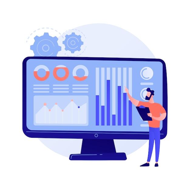 Data center de mídia social. estatísticas de smm, pesquisa de marketing digital, análise de tendências de mercado. especialista feminina, estudando os resultados da pesquisa online. Vetor grátis