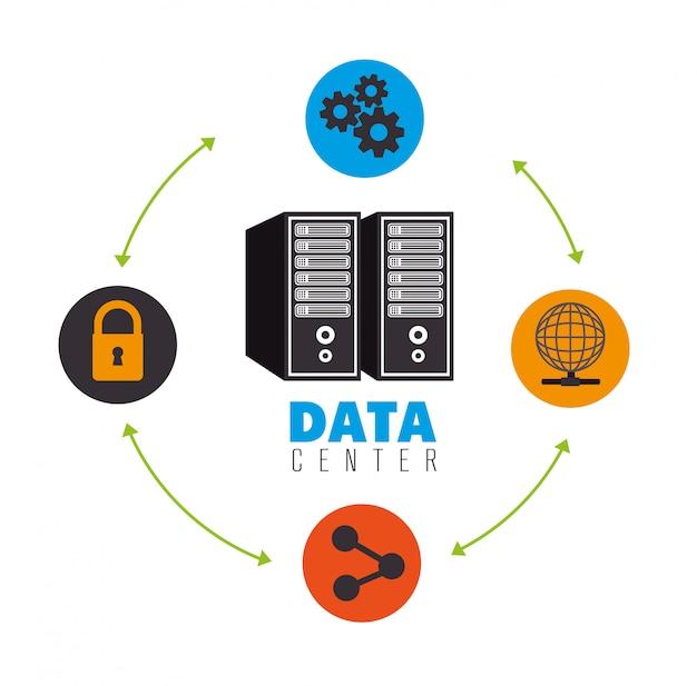 Data center e hospedagem Vetor Premium