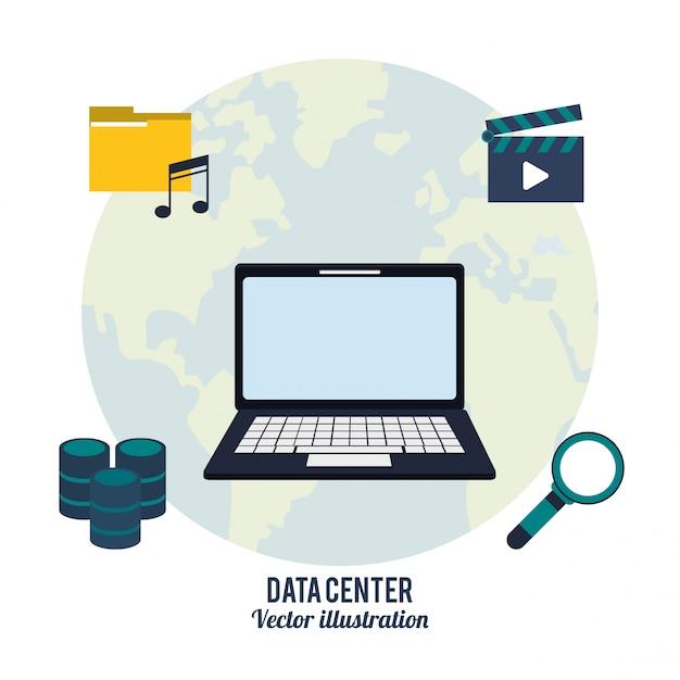Data center, laptop, pesquisa, video, música Vetor Premium