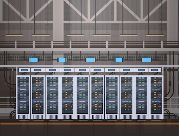 Data center room hosting server banco de dados de informações do computador sincronizar tecnologia Vetor Premium