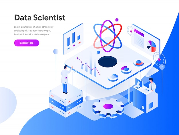 Data scientist isometric for website page Vetor Premium