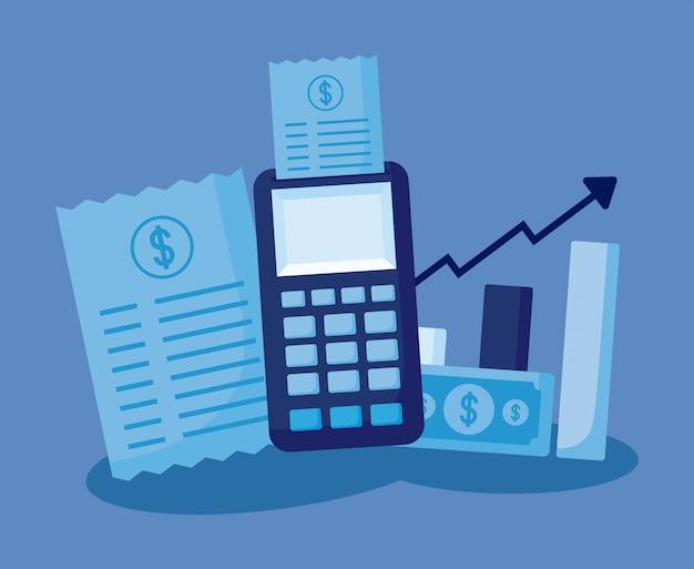 Dataphone, com, jogo, ícones, economia, finanças Vetor Premium