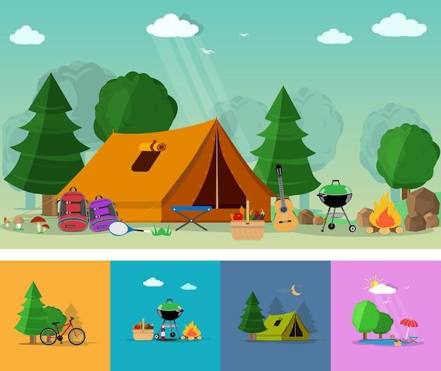 De caminhadas, turismo e recreação ao ar livre com ícones de viagens. conjunto de elementos planos: guitarra, cesto com comida, churrasco, tenda, mochilas, árvores, ilustração de fogueira Vetor Premium