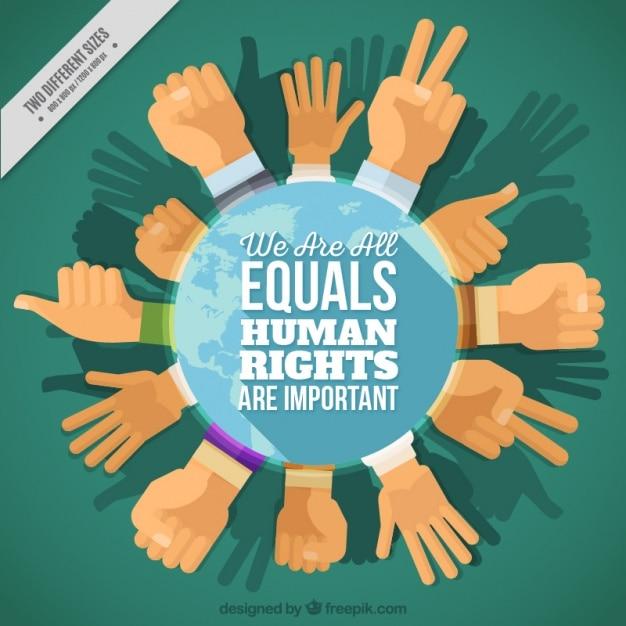 De fundo sobre direitos humanos, círculo das mãos Vetor grátis
