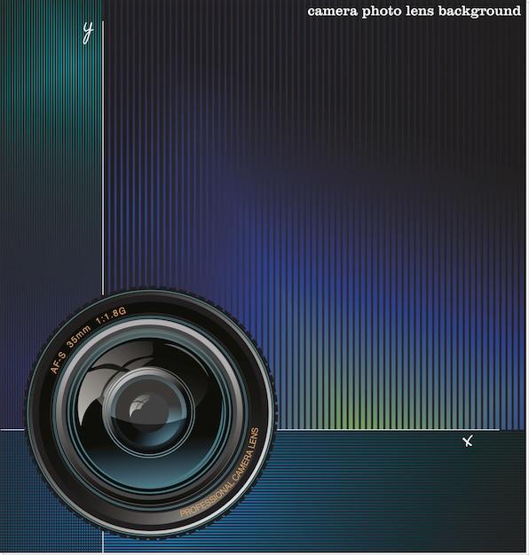 De fundo vector com a câmera e lugar para texto Vetor Premium