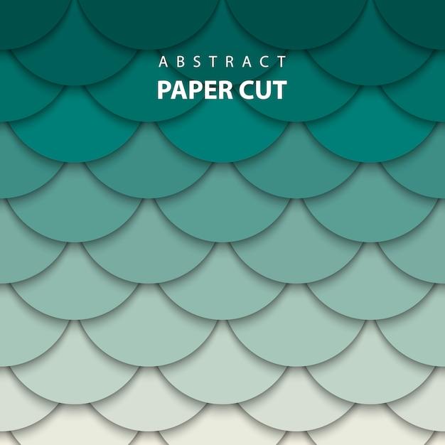 De fundo vector com papel bege e verde cortado Vetor Premium