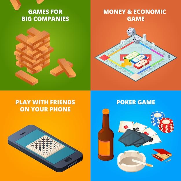 De jogos de tabuleiro. damas, xadrez e outros jogos Vetor Premium