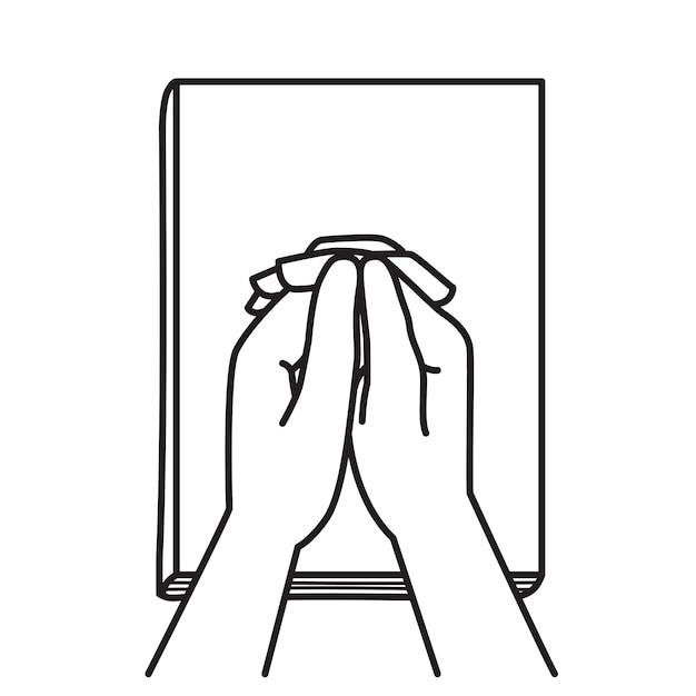 De mãos dadas orando sobre a bíblia Vetor Premium