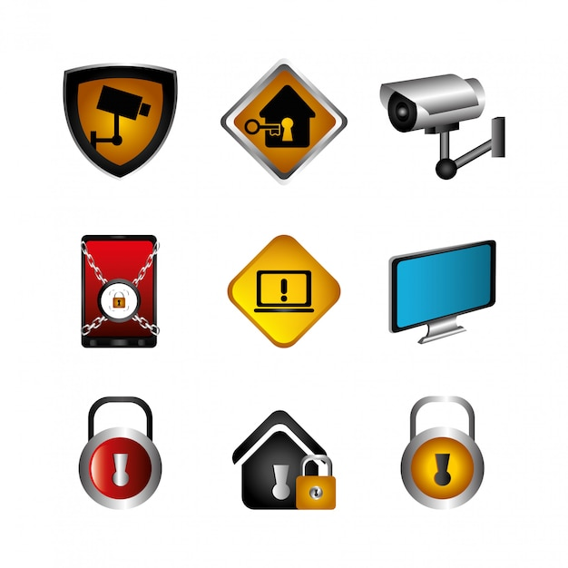 De segurança cibernética e ícones Vetor grátis